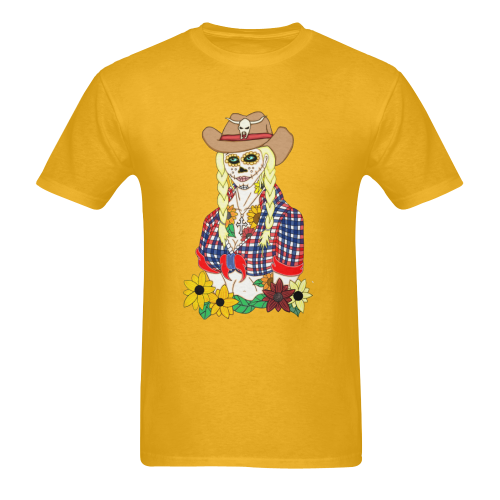 Cowgirl Sugar Skull Gold Men's Heavy Cotton T-Shirt (One Side Printing)