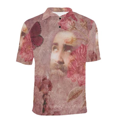 Romantic Guy Scrapbook Men's All Over Print Polo Shirt (Model T55)