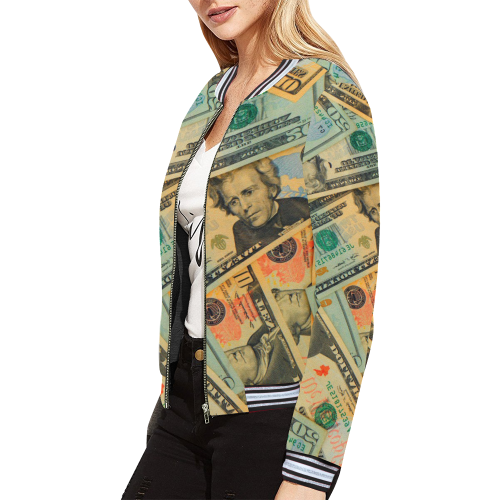 US DOLLARS 2 All Over Print Bomber Jacket for Women (Model H21)