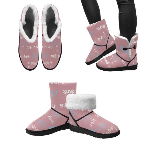 crazy friends Design boots // PINKs Unisex Single Button Snow Boots (Model 051)