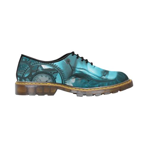 Steampunk lady, clocks and gears Men's Wholecut Dress Shoes (Model 4026)