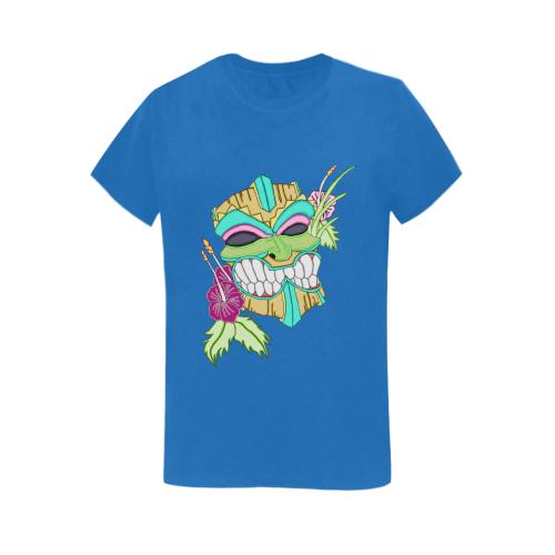 Tropical Tiki Mask Royal Blue Women's Heavy Cotton Short Sleeve T-Shirt