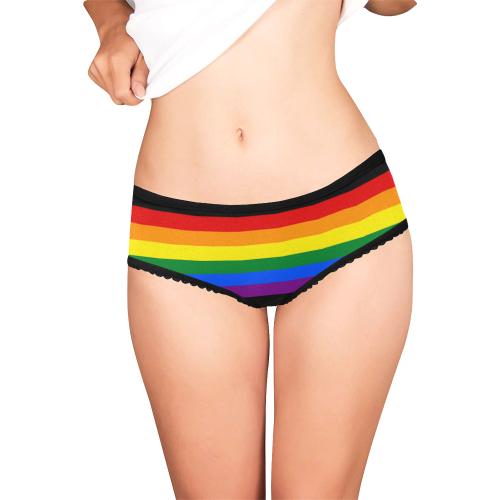 Gay Pride Rainbow Flag Stripes Women's All Over Print Girl Briefs (Model L14)