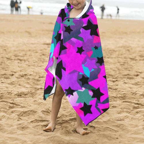 Punk Rock Star Crazy Kids' Hooded Bath Towels