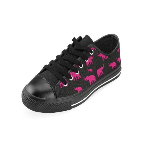 elefantes rosas Low Top Canvas Shoes for Kid (Model 018)