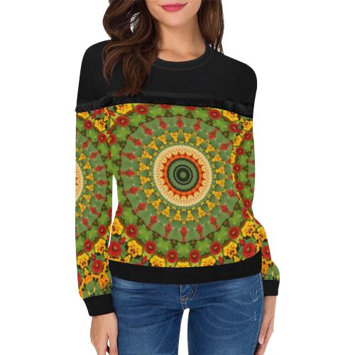 Garden Mandala Women's Fringe Detail Sweatshirt (Model H28)