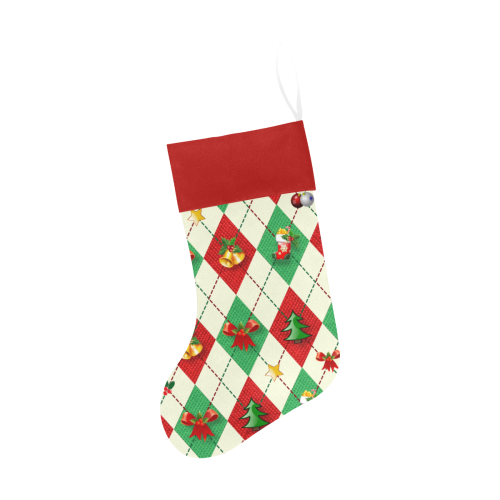 Christmas Argyle Pattern Red Top Christmas Stocking