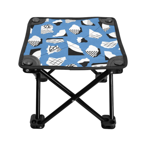 Retro Blue and Black Geometric Abstract Folding Fishing Stool