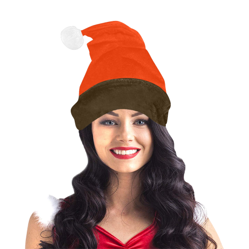 Team Colors Orange Coquelicot and Brown Santa Hat
