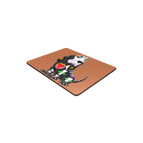 Basset Hound Sugar Skull Rust Rectangle Mousepad