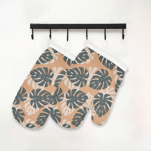 Tropical Leaves Oven Mitt (Two Pieces)