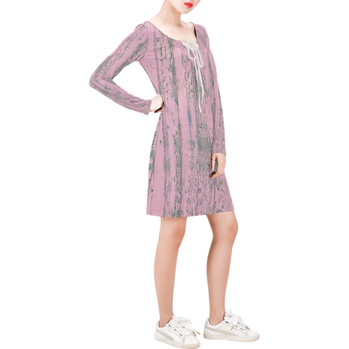 old pink wood wall Long Sleeve String Tie Dress (Model D54)