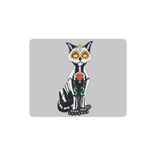 Sugar Skull Cat Lt Grey Rectangle Mousepad
