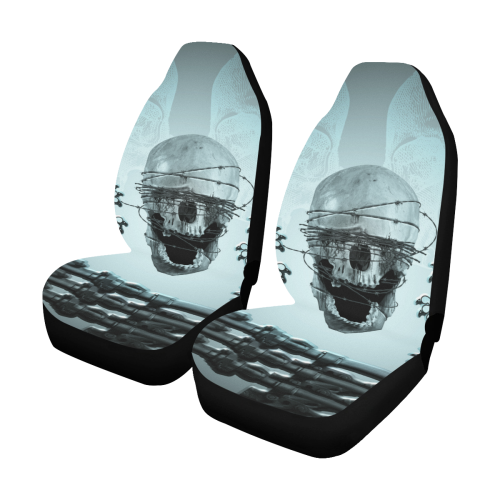 Scary skull with lion Car Seat Covers (Set of 2)