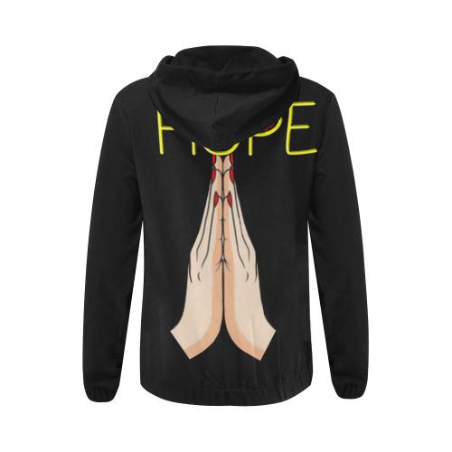 hOPE gIRL hANDS All Over Print Full Zip Hoodie for Women (Model H14)