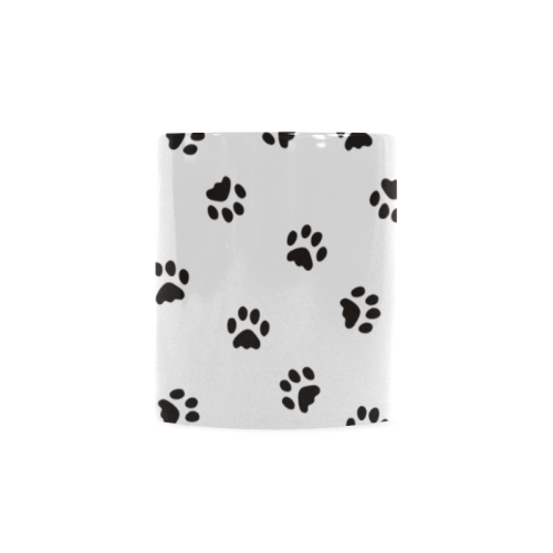 Footprints CAT black on clear background Custom White Mug (11OZ)