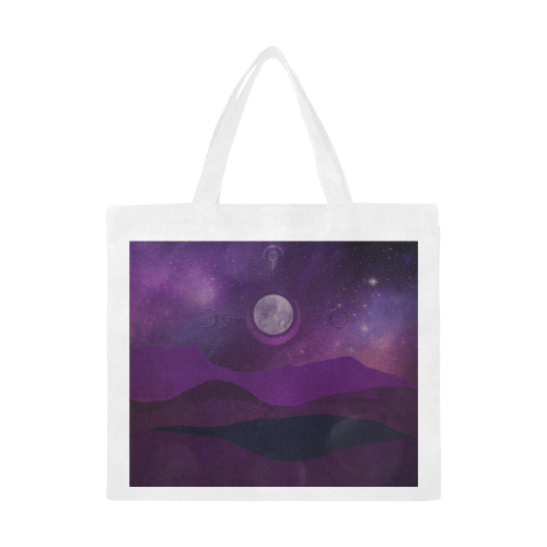 Purple Moon Night Canvas Tote Bag/Large (Model 1702)