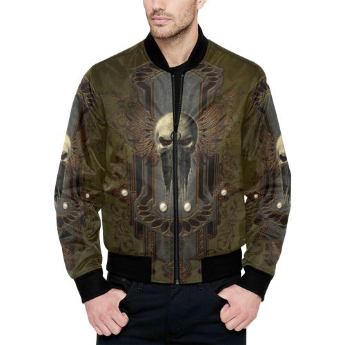 Awesome dark skull All Over Print Quilted Bomber Jacket for Men (Model H33)