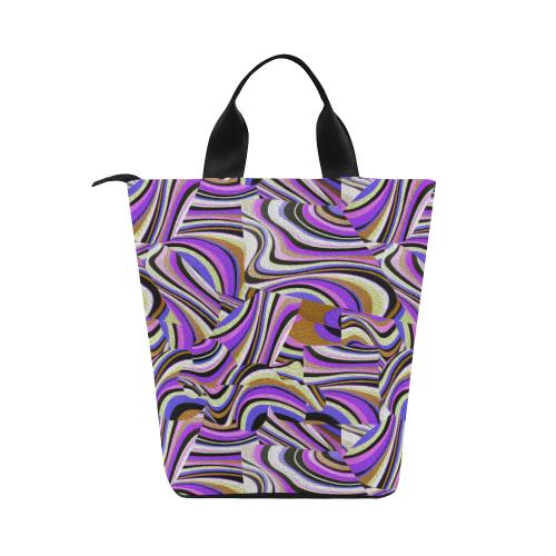 Groovy Retro Renewal - Purple Waves Nylon Lunch Tote Bag (Model 1670)