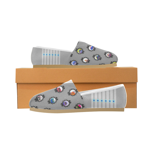 Grid_Gray Unisex Casual Shoes (Model 004)