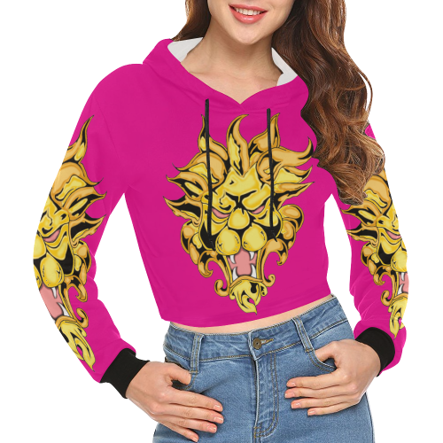 Gold Metallic Lion Pink All Over Print Crop Hoodie for Women (Model H22)