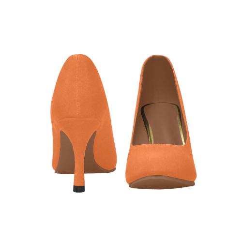 Basic Orange with brown lining Women's High Heels (Model 048)