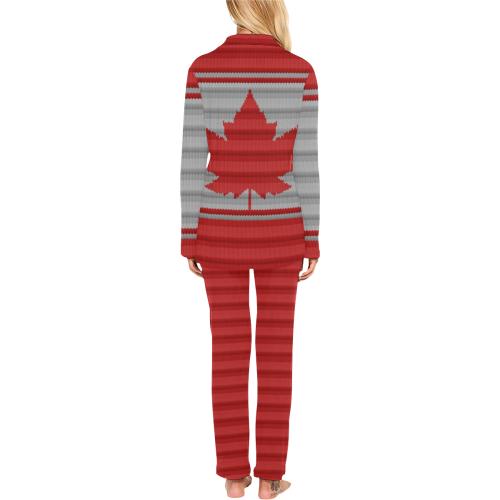 Canada Knit Print Sleepwear / Loungewear Women's Long Pajama Set (Sets 02)