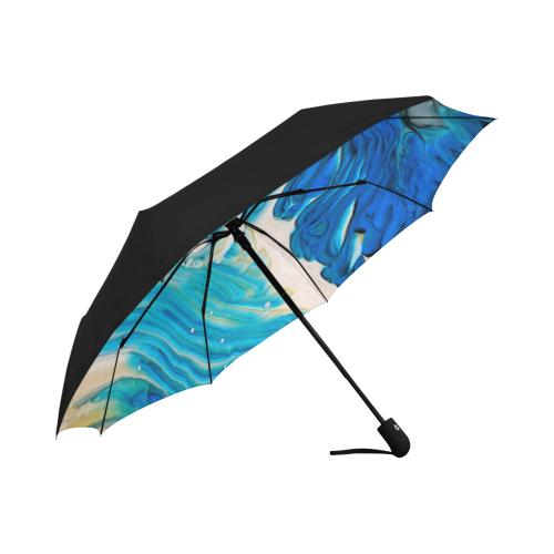 blue feathers. Anti-UV Auto-Foldable Umbrella (Underside Printing) (U06)