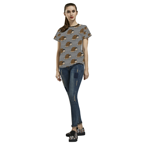 Escargot ~ French Snail All Over Print T-shirt for Women/Large Size (USA Size) (Model T40)