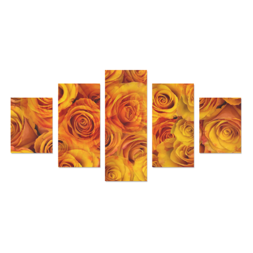 Grenadier Tangerine Roses Canvas Wall Art Z (5 pieces)