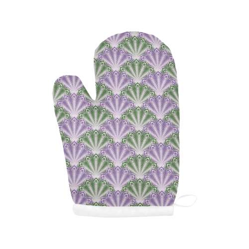 vintage scallop violet green pattern Oven Mitt (Two Pieces)
