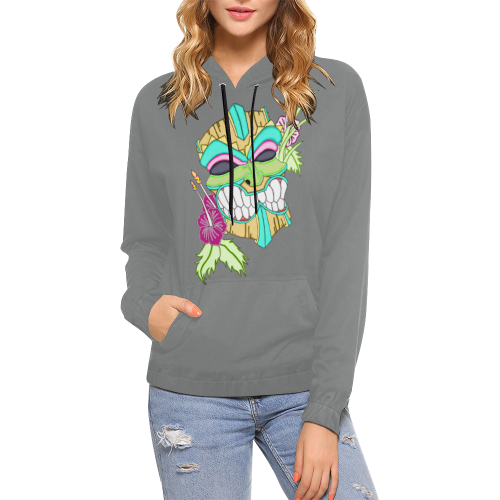 Tropical Tiki Mask Grey All Over Print Hoodie (for Women)