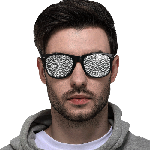 Geometric Folklore Diamonds Ethno Pattern black Custom Goggles (Perforated Lenses)