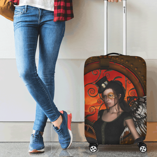 "Steampunk lady with steampunk wings Luggage Cover/Small 18""-21"""