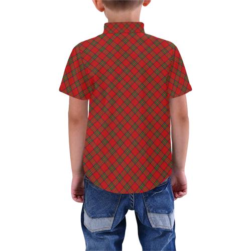Red Tartan Plaid Pattern Boys' All Over Print Short Sleeve Shirt (Model T59)