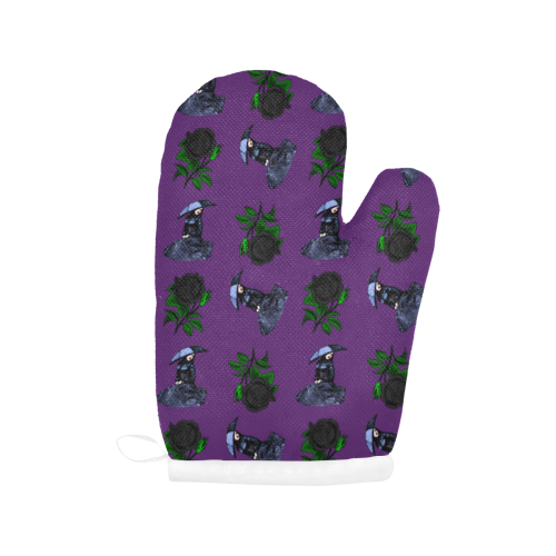 gothic girl rose purple pattern Oven Mitt (Two Pieces)