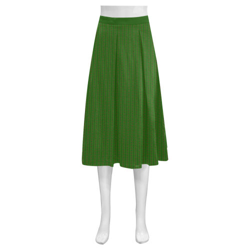 African Diagonal Green Flowers Mnemosyne Women's Crepe Skirt (Model D16)