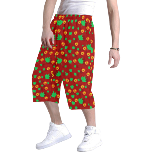May be Christmas apples ornate Men's All Over Print Baggy Shorts (Model L37)