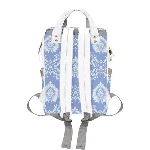 Blue and White Damask Multi-Function Diaper Backpack (Model 1688)