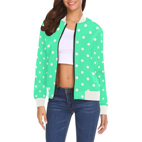 Mint Green White Dots All Over Print Bomber Jacket for Women (Model H19)