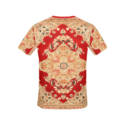 Persian Carpet Hadji Jallili Tabriz Red Gold All Over Print T-shirt for Women/Large Size (USA Size) (Model T40)