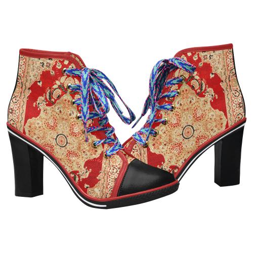 Persian Carpet Hadji Jallili Tabriz Red Gold Women's Lace Up Chunky Heel Ankle Booties (Model 054)