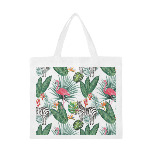 Awesome Flamingo And Zebra Canvas Tote Bag/Large (Model 1702)