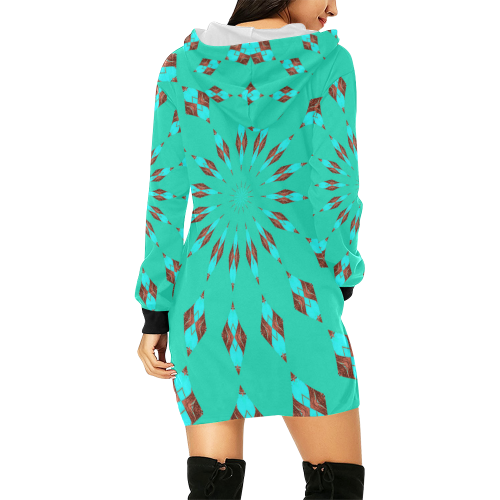 COMPASS All Over Print Hoodie Mini Dress (Model H27)