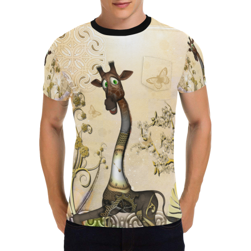 Funny steampunk giraffe Men's All Over Print T-Shirt with Chest Pocket (Model T56)