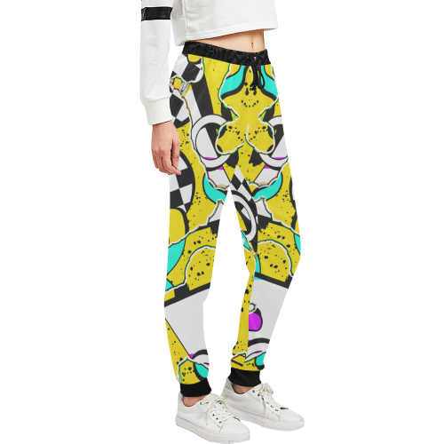 Shapes on a yellow background Unisex All Over Print Sweatpants (Model L11)
