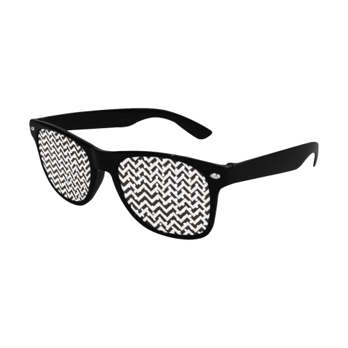 HIPSTER zigzag chevron pattern black & white Custom Goggles (Perforated Lenses)