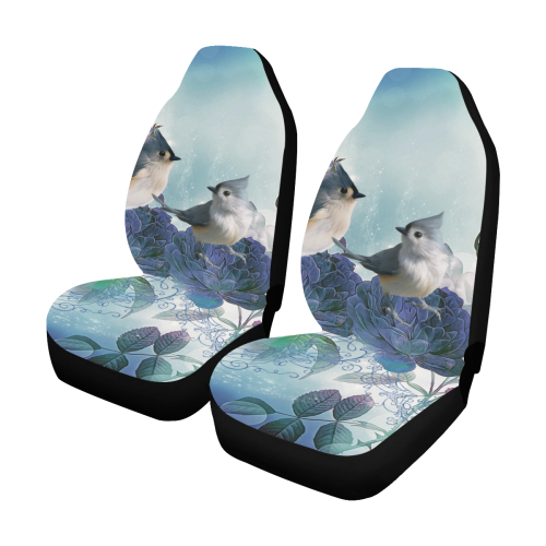 Cute birds with blue flowers Car Seat Covers (Set of 2)