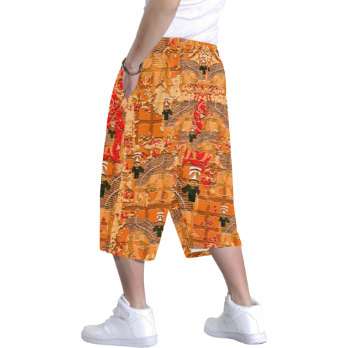 Lamassu abstract art orange Men's All Over Print Baggy Shorts (Model L37)