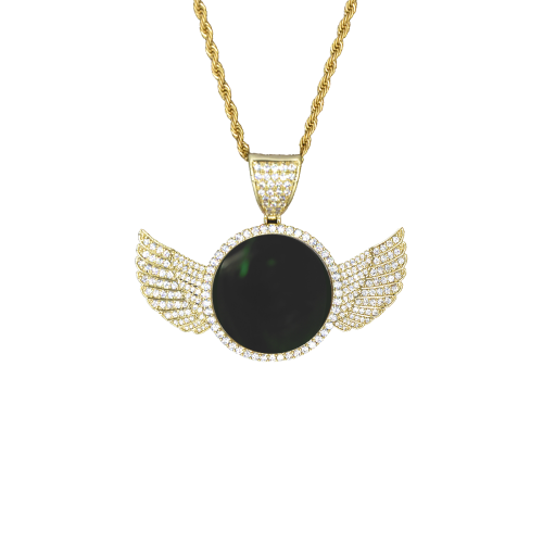 Emerald Tipeek Wings Gold Photo Pendant with Rope Chain
